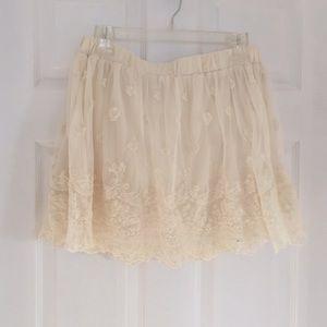 Cream lace skirt